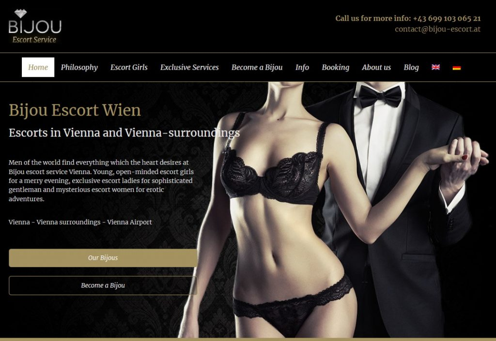 home page of Bijou Escortservice Vienna